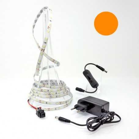 Ruban led orange de 2,5 mètres avec interrupteur et alimentation secteur