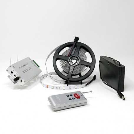 Kit bande led RGB 30led/m IP20 5m capteur son avec boitier piles