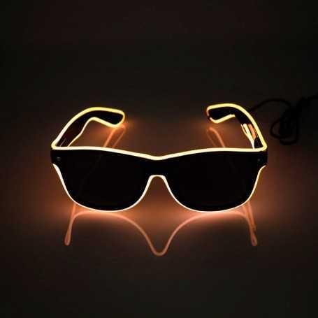 Lunettes lumineuses LED oranges avec boitier piles