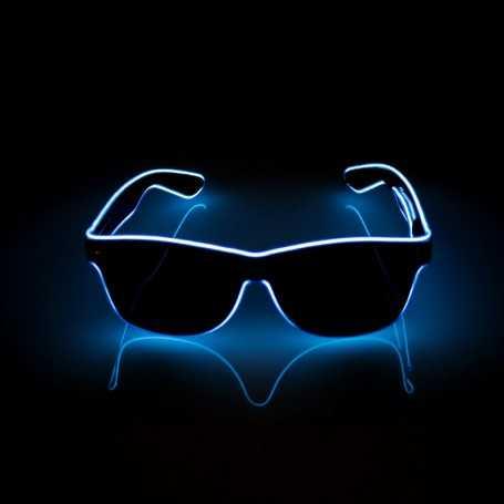 Lunettes lumineuses LED bleues avec boitier piles