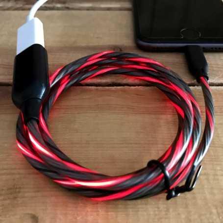 Cordon de recharge USB lumineux rouge pour téléphone iPhone