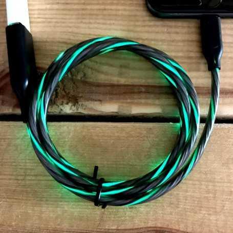 Cordon de recharge USB lumineux vert pour téléphone Android