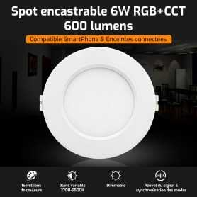 Spot LED encastrable connecté RGB+CCT 6W Mi-Light (MiBOXER)