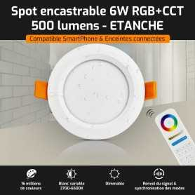 Spot LED encastrable ETANCHE connecté RGB+CCT 6W Mi-Light (MiBOXER)