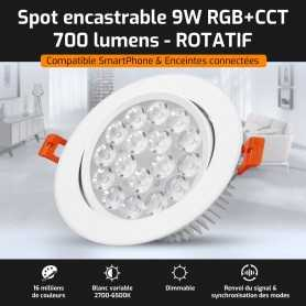 Spot LED encastrable ROTATIF connecté RGB+CCT 9W Mi-Light (MiBOXER)