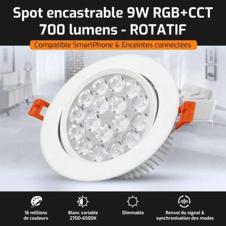 Spot LED encastrable ROTATIF connecté RGB+CCT 9W Mi-Light (MiBOXER)