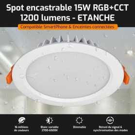Spot LED encastrable ETANCHE connecté RGB+CCT 15W Mi-Light (MiBOXER)
