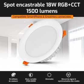 Spot LED encastrable connecté RGB+CCT 18W Mi-Light (MiBOXER)