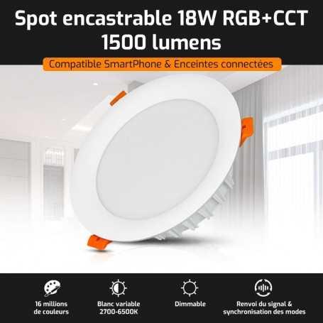 Spot LED encastrable connecté RGB+CCT 18W Mi-Light (MiBOXER)