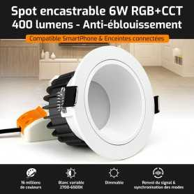 Spot LED encastrable ANTI-EBLOUISSEMENT connecté RGB+CCT 6W Mi-Light (MiBOXER)