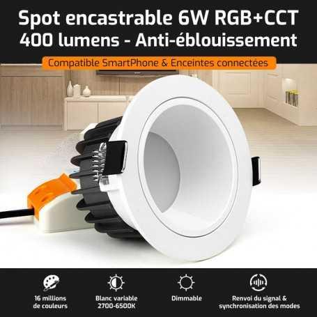 Spot LED encastrable ANTI-EBLOUISSEMENT connecté RGB+CCT 6W Mi-Light (MiBOXER)