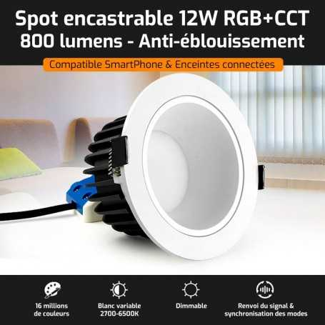 Spot LED encastrable ANTI-EBLOUISSEMENT connecté RGB+CCT 12W Mi-Light (MiBOXER)
