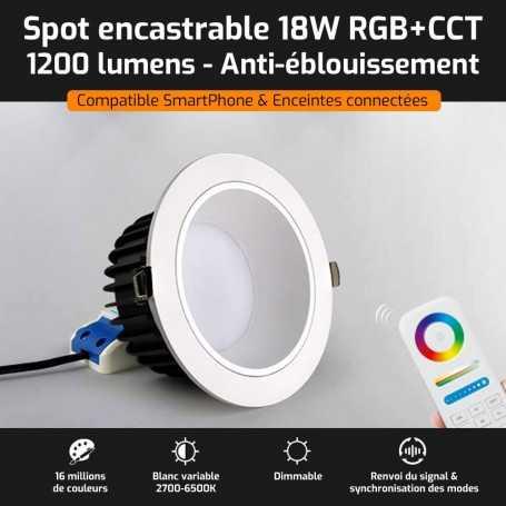 Spot LED encastrable ANTI-EBLOUISSEMENT connecté RGB+CCT 18W Mi-Light (MiBOXER)