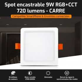 Spot LED encastrable CARRE connecté RGB+CCT 9W Mi-Light (MiBOXER)