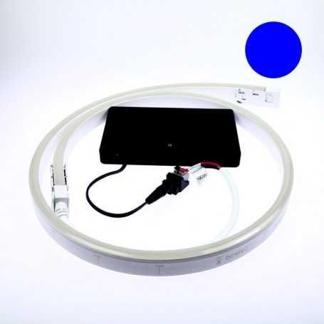 Kit led néon flex piles bleu de 1 à 5m. Nomade avec bouton on/off