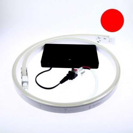 Kit led néon flex piles rouge de 1 à 5m. Nomade avec bouton on/off