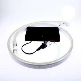 Kit led néon flex piles blanc de 1 à 5m. Nomade avec bouton on/off