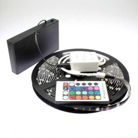 Kit ruban led RGB à piles de 5m avec contrôleur 24 touches