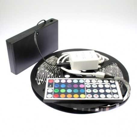 Kit ruban led RGB à piles de 5m avec contrôleur 44 touches