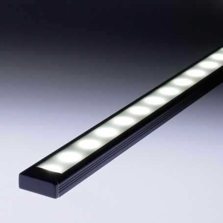 Profilé aluminium led noir de 1m complet à poser en saillie ou à encastrer