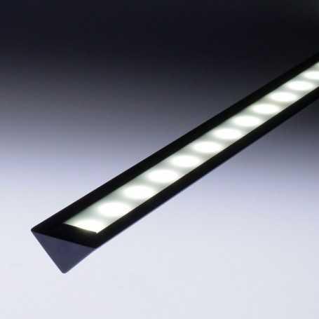 Profilé aluminium noir 1 mètre encastrable ou d'angle pour bandeau led kit complet