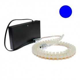 Kit piles avec bande led silicone bleue de 1m. Haute luminosité