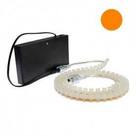 Kit piles avec bande led silicone orange de 1m. Haute luminosité