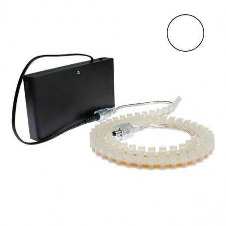 Kit piles avec bande led silicone blanche de 1m. Haute luminosité