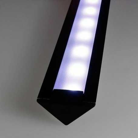Kit profilé led aluminium ENCASTRABLE NOIR de 1m avec diffuseur givré