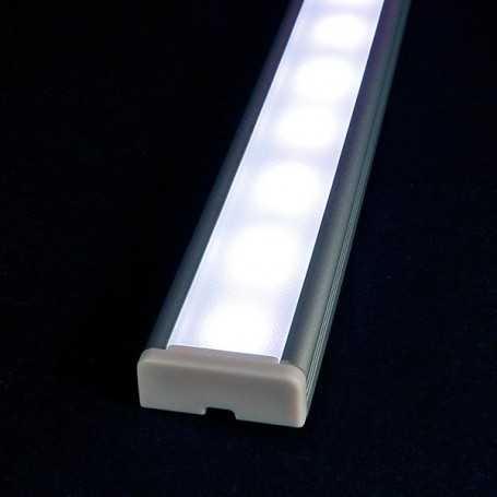 Kit profilé led aluminium à poser en SAILLIE L de 1m avec diffuseur givré
