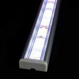 Kit profilé led aluminium à poser en SAILLIE L de 1m avec diffuseur transparent