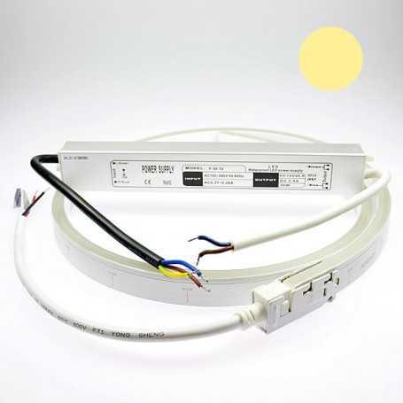 Kit néon led slim blanc chaud 5m avec alimentation 220V étanche