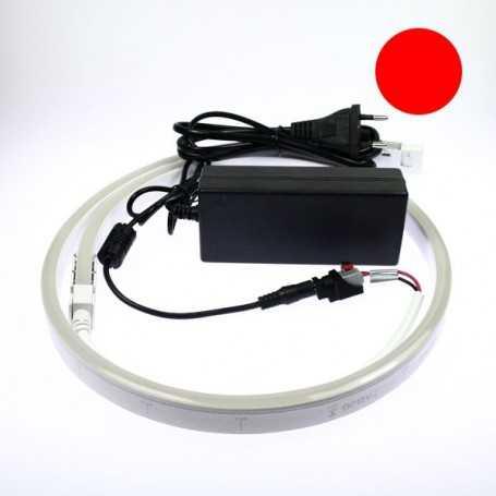 Kit néon led slim rouge 5m avec alimentation 220V