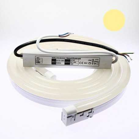 Kit néon led bulbe blanc chaud 10m avec alimentation 220V étanche