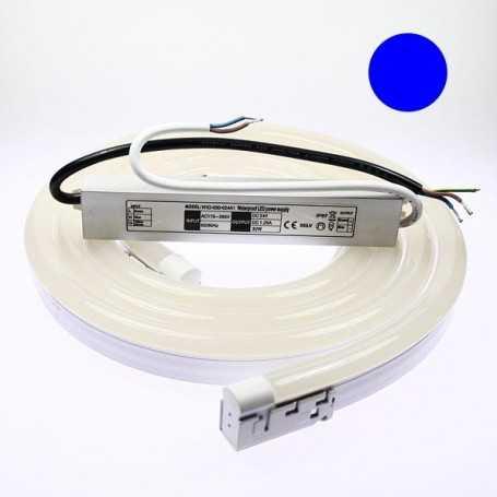 Kit néon led bulbe bleu 2m avec alimentation 220V étanche