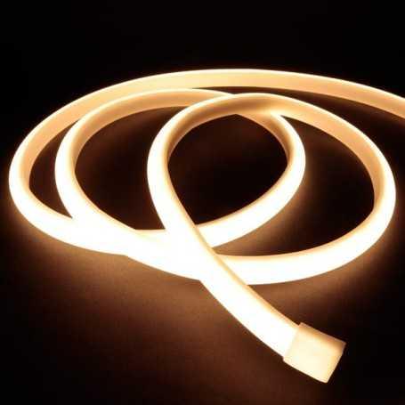 Ruban LED néon blanc chaud 12V étanche 5m. Lumière continue haute intensité