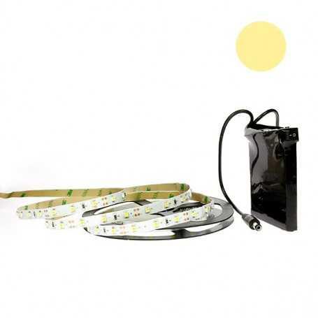 Kit bande led blanc chaud 60led/m IP20 2m50 avec batterie 1800mAh