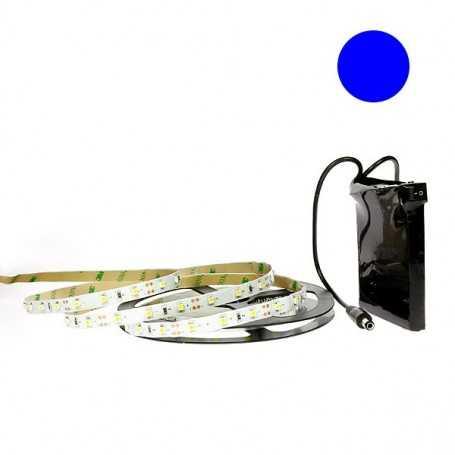 Kit bande led bleue 60led/m IP20 2m50 avec batterie 1800mAh
