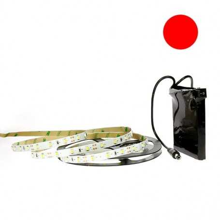 Kit bande led rouge 60led/m IP20 2m50 avec batterie 1800mAh