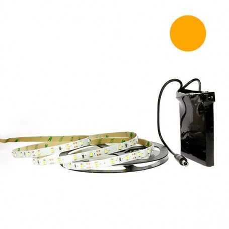 Kit bande led orange 60led/m IP20 5m avec batterie 1800mAh