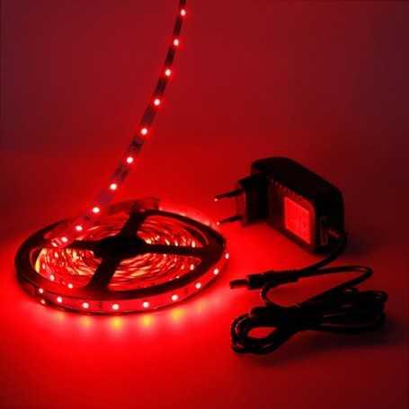Kit bande led rouge 60led/m IP20 5m avec alimentation 220V