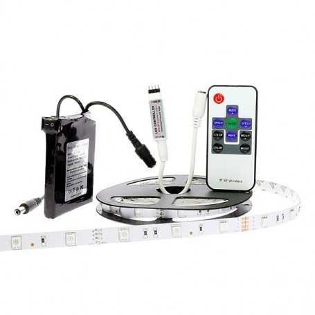 Kit bande led RGB 30led/m IP20 2m50 mini contrôleur RF avec batterie 1800mAh