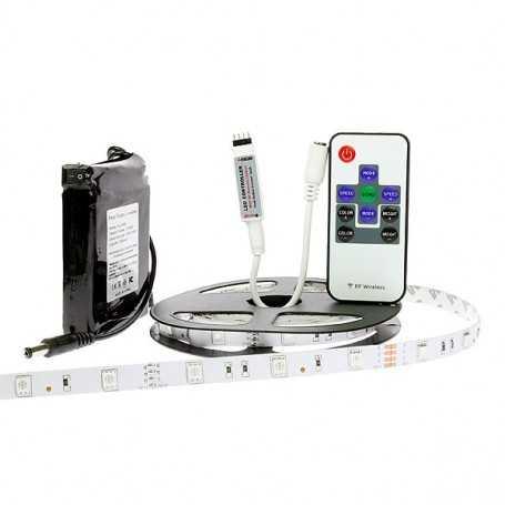 Kit bande led RGB 30led/m IP20 2m50 mini contrôleur RF avec batterie 4200mAh