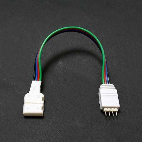 Raccord rapide RGB mâle pour bande led RGB non étanche IP20