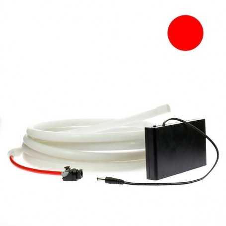 Kit ruban led néon rouge étanche IP68 2m50 avec boitier piles