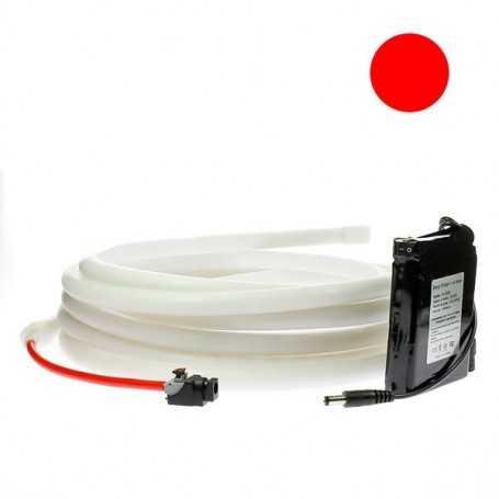 Kit ruban led néon rouge étanche IP68 2m50 avec batterie 4200mAh