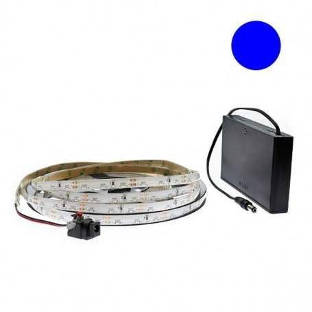 Kit bande led side bleue 60led/m étanche 5m avec boitier piles