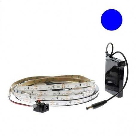 Kit bande led side bleue 60led/m étanche 5m avec batterie 1800mAh