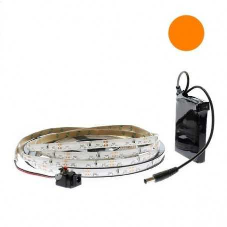 Kit bande led side orange 60led/m étanche 5m avec batterie 1800mAh