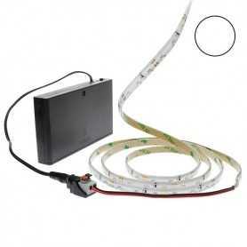 Pack bande led éclairage latéral blanc avec boîtier piles